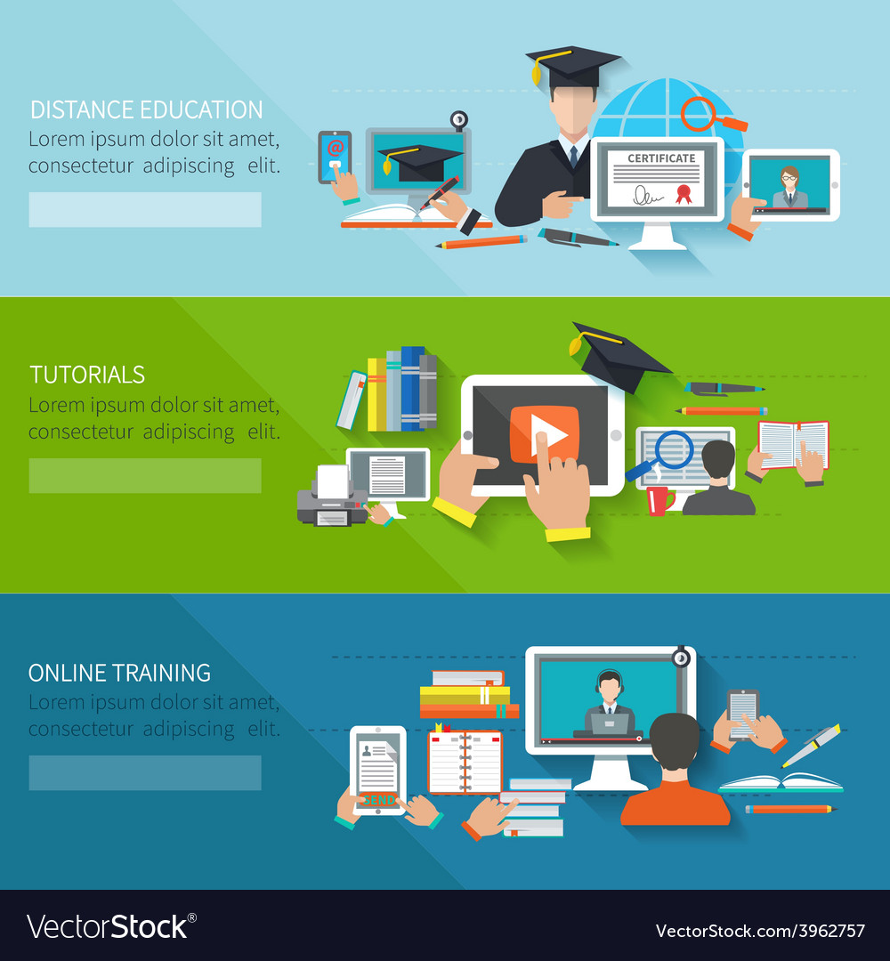 online education banner royalty free vector image