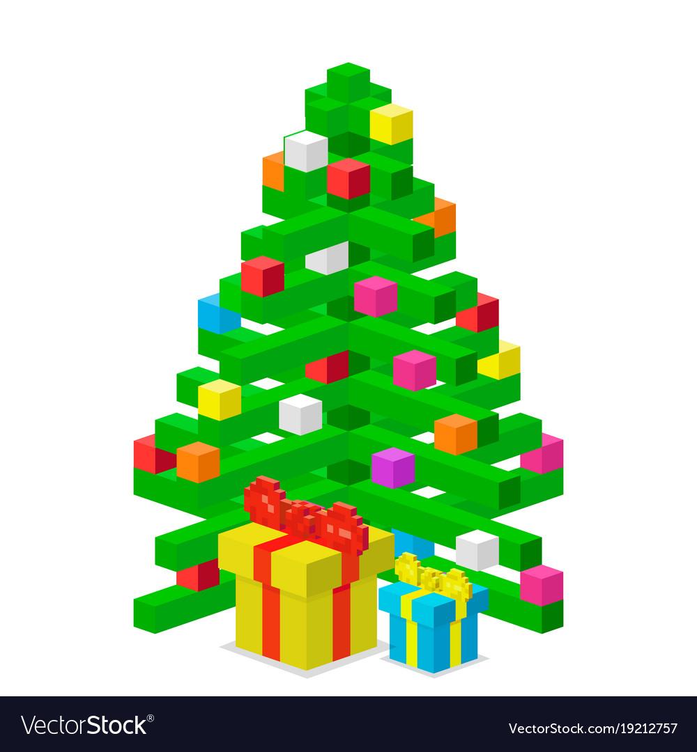 Pine tree pixel green christmas holiday vector image