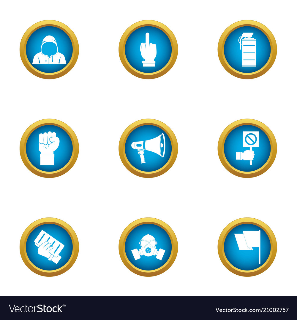 Revolt icons set flat style vector image