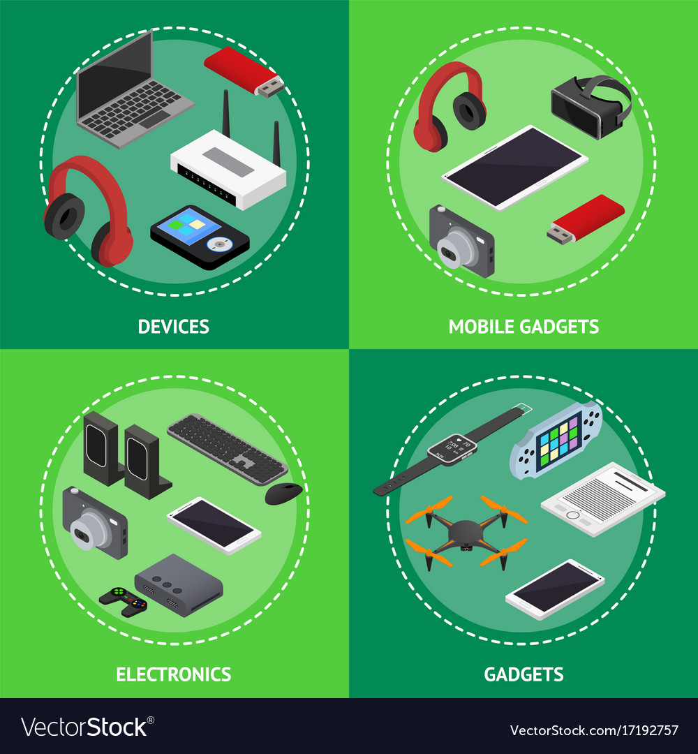 Technology devices poster card set isometric view
