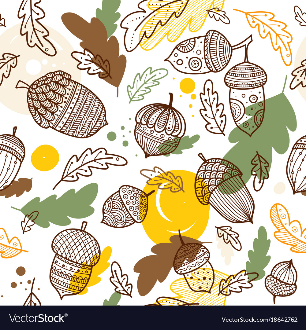 Acorn seamless pattern in boho style