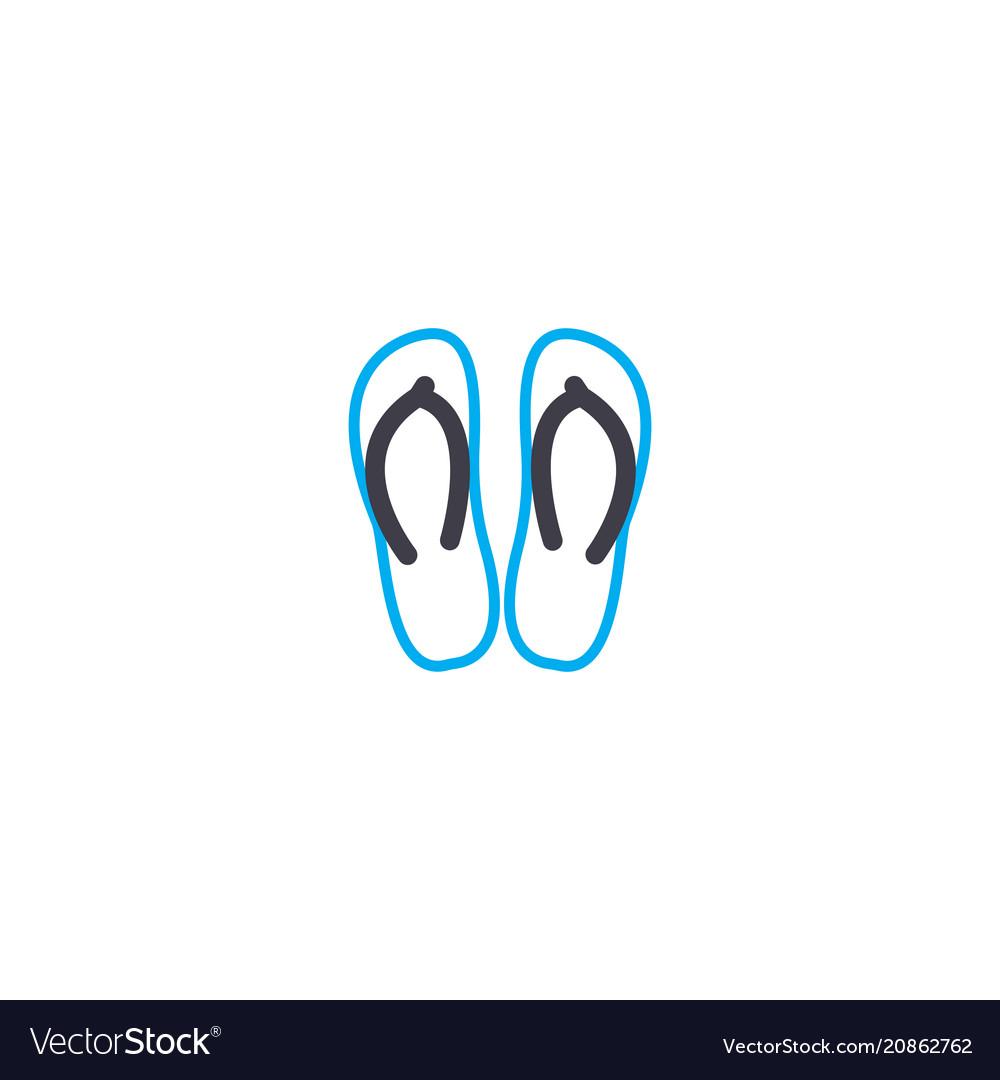 Beach shoes thin line stroke icon beach