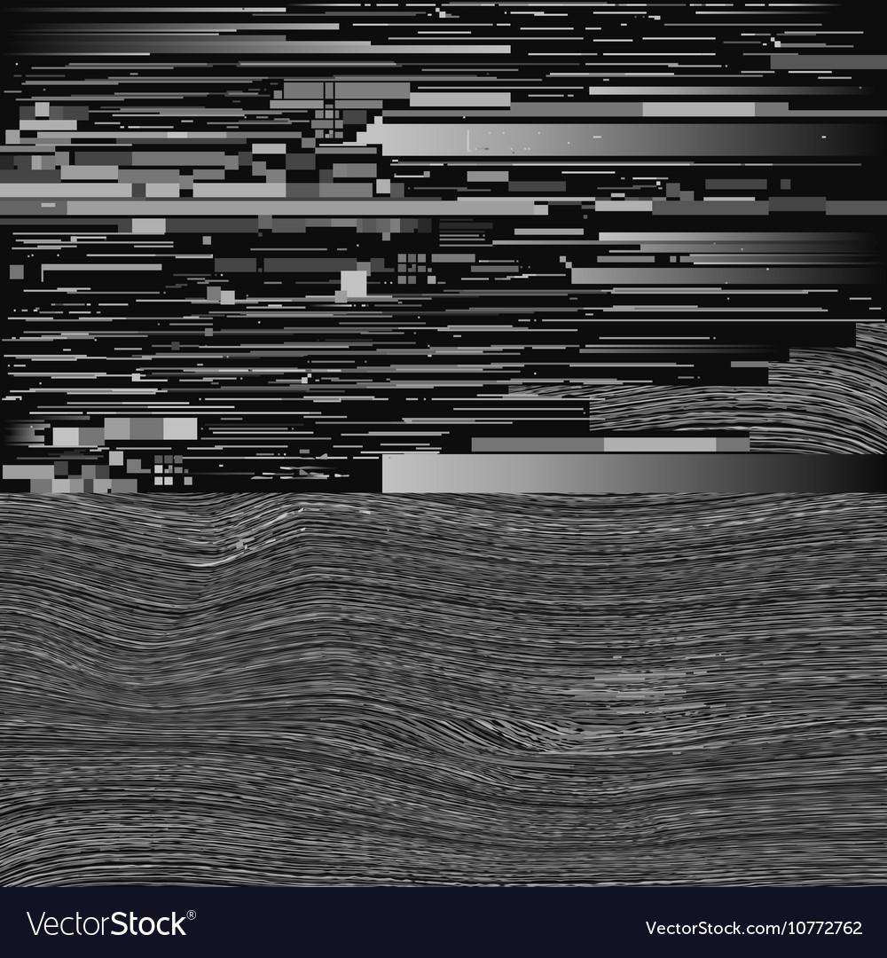 Black and white tv monitor glitch distorted