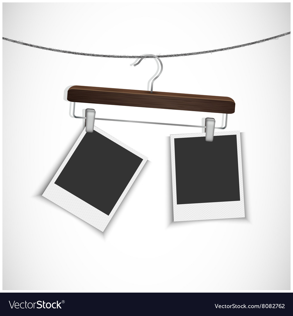 Blank photo frame with clothes hanger
