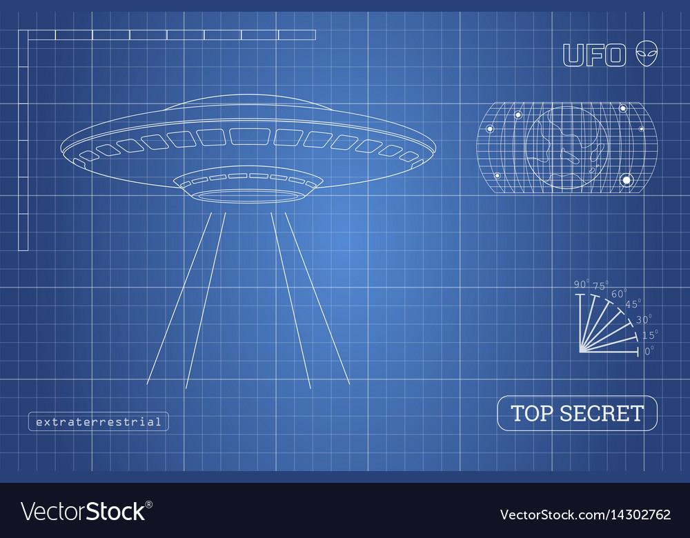 Blueprint of ufo technical document royalty free vector blueprint of ufo technical document vector image malvernweather Image collections