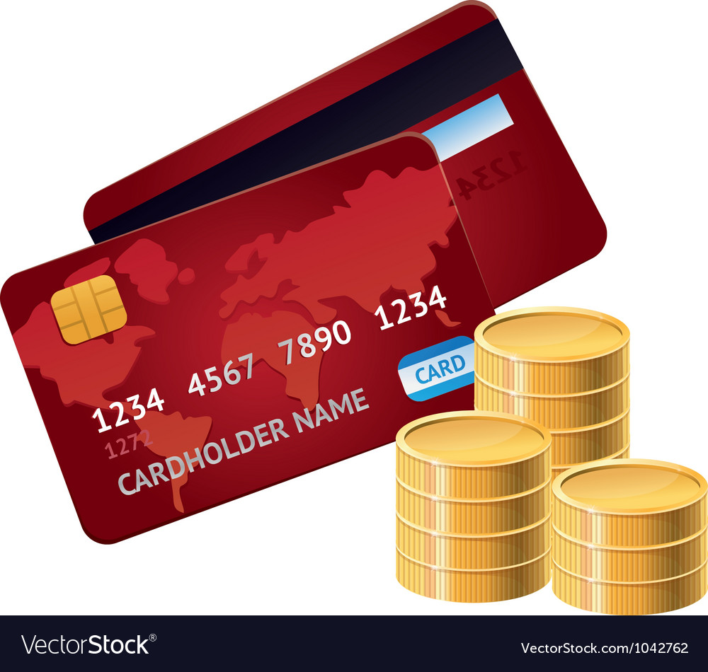 Credit card and golden coins