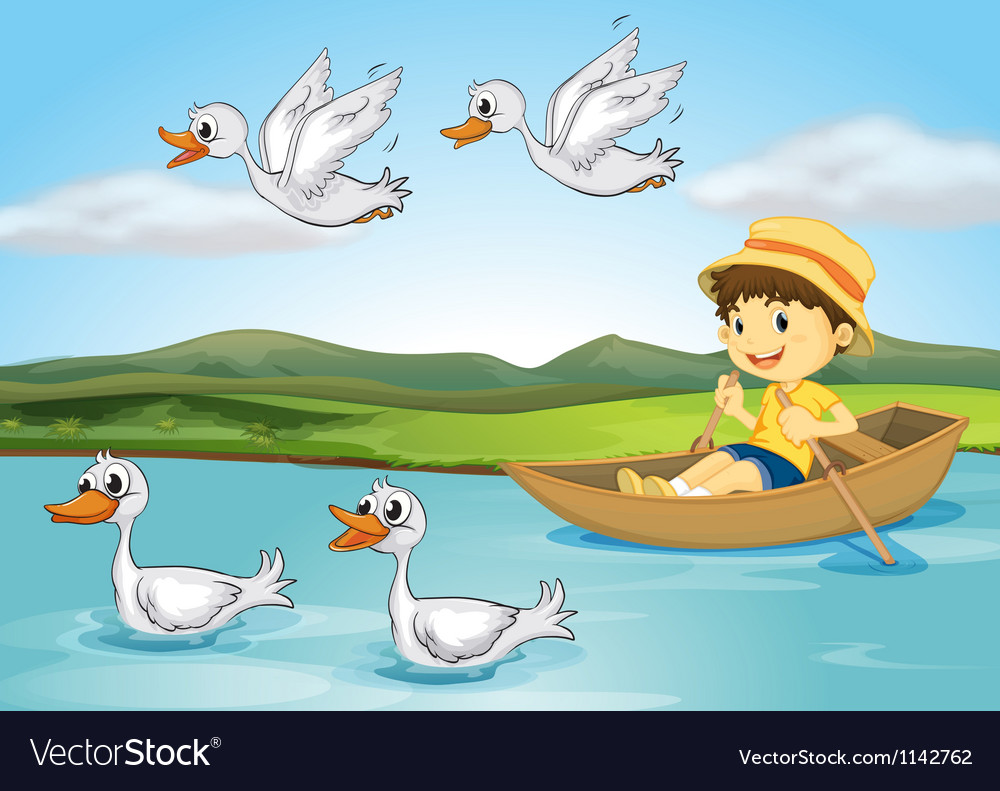 Ducks and a kid