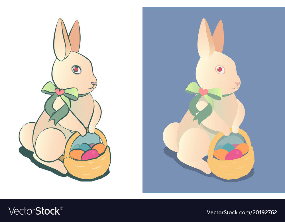 Easter bunny with a basket of colored easter eggs
