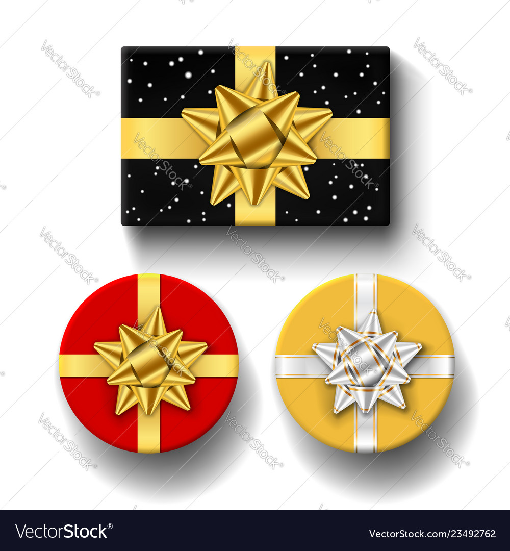 Gift boxes top view isolated set template