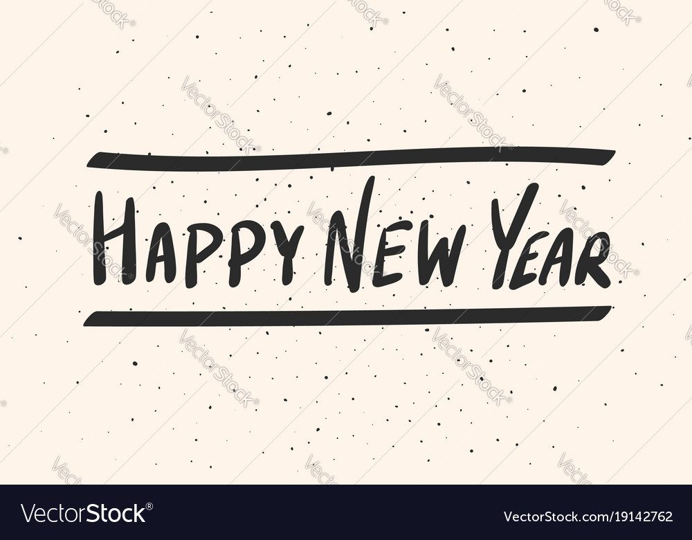 Happy new year calligraphy phrase black lettering