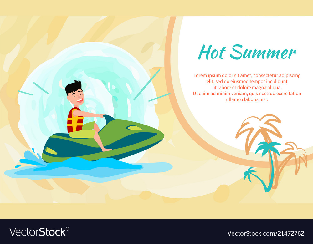 Hot summer poster with place for text and jet ski
