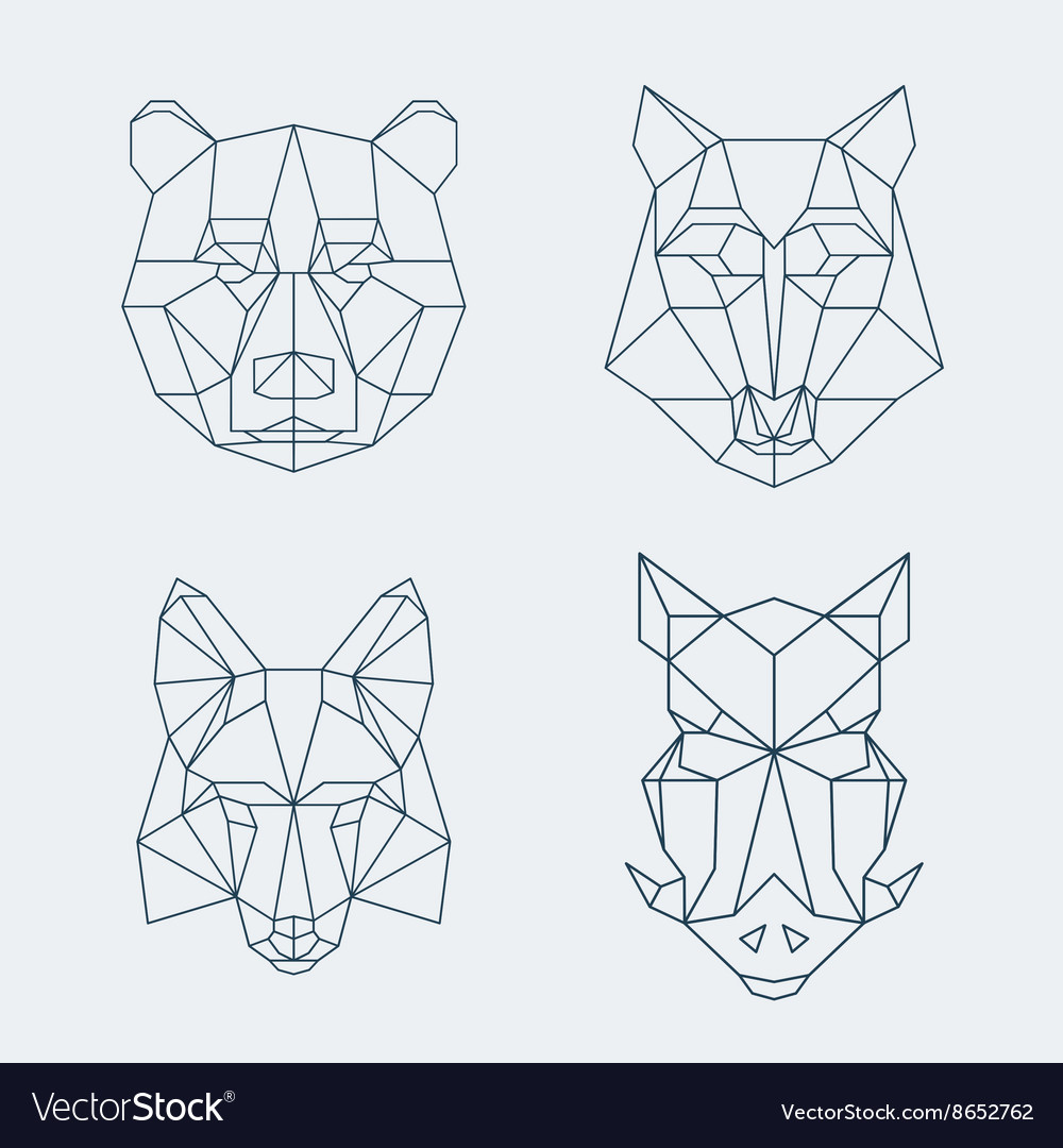 Low poly animals Bear and wolf fox or wild boar