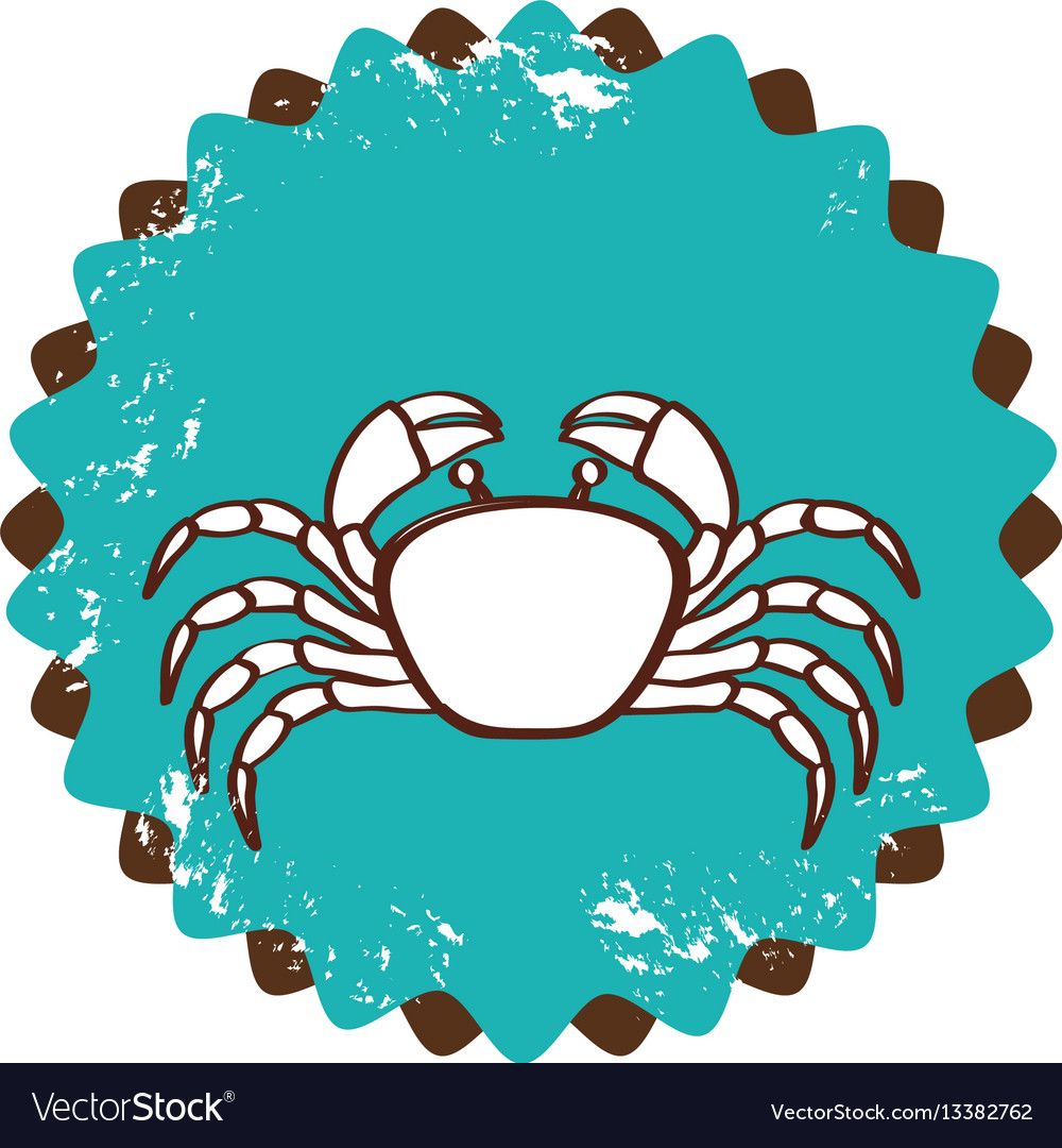 Old stamp border with silhouette crayfish