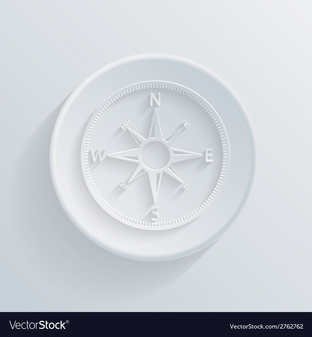 Paper circle flat icon with a shadow compass