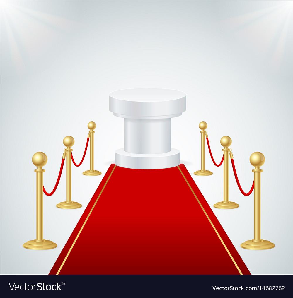 Red event carpet round podium and gold rope