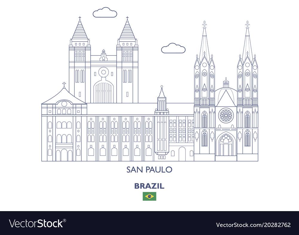 San paulo city skyline vector image