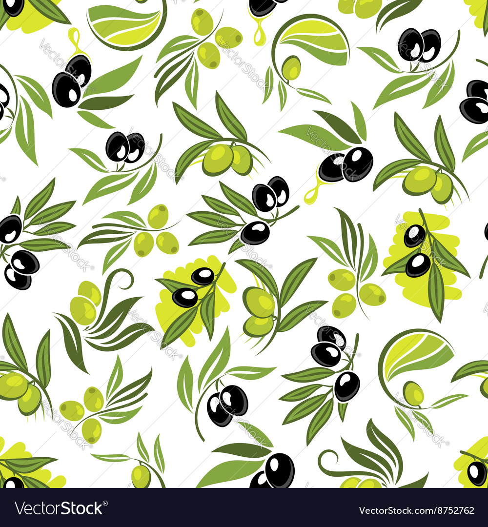 Seamless olive tree branches with fruits pattern