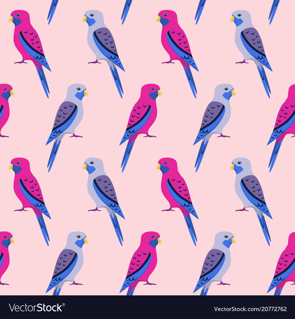 Seamless pattern with rosella parrots