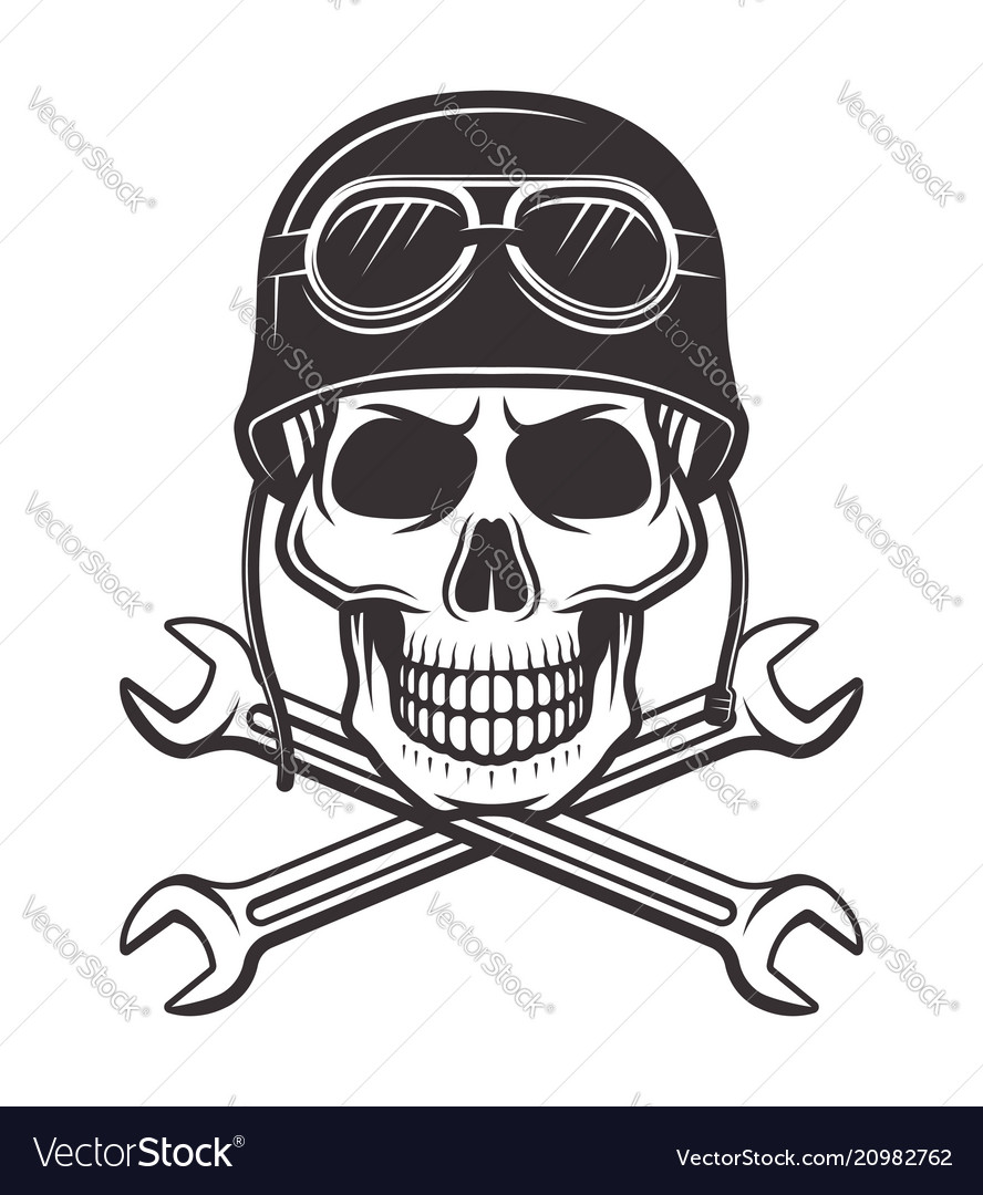 Skull in motorcycle helmet with crossed wrenches
