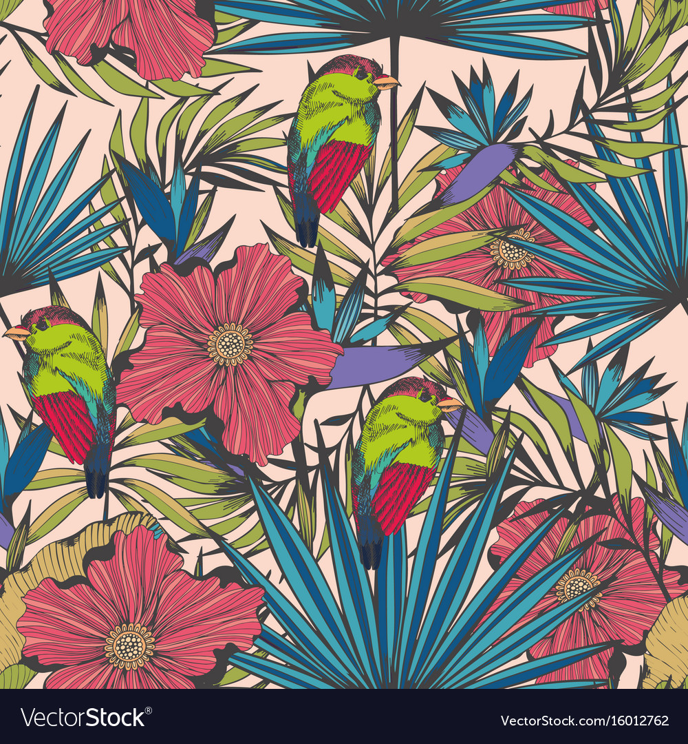 Tropical birds and plants seamless hand made