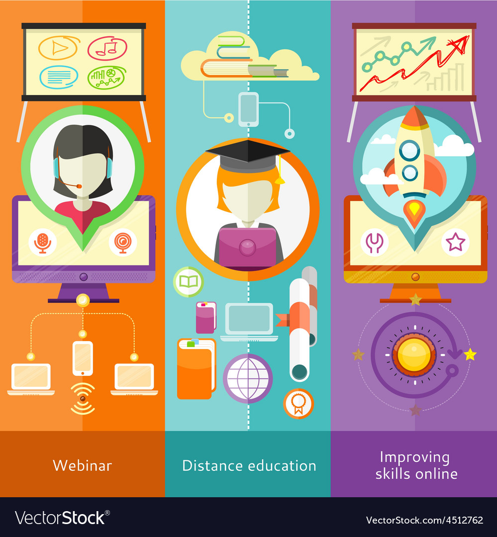 Webinar Distance Education and Improving Skills vector image