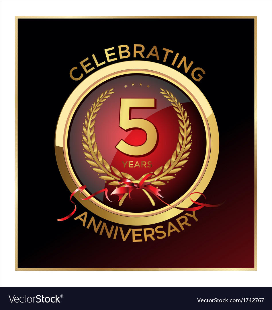 5 Years Anniversary Label Royalty Free Vector Image