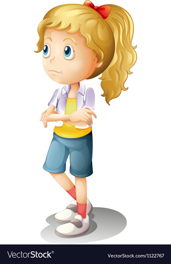 A thinking girl vector image