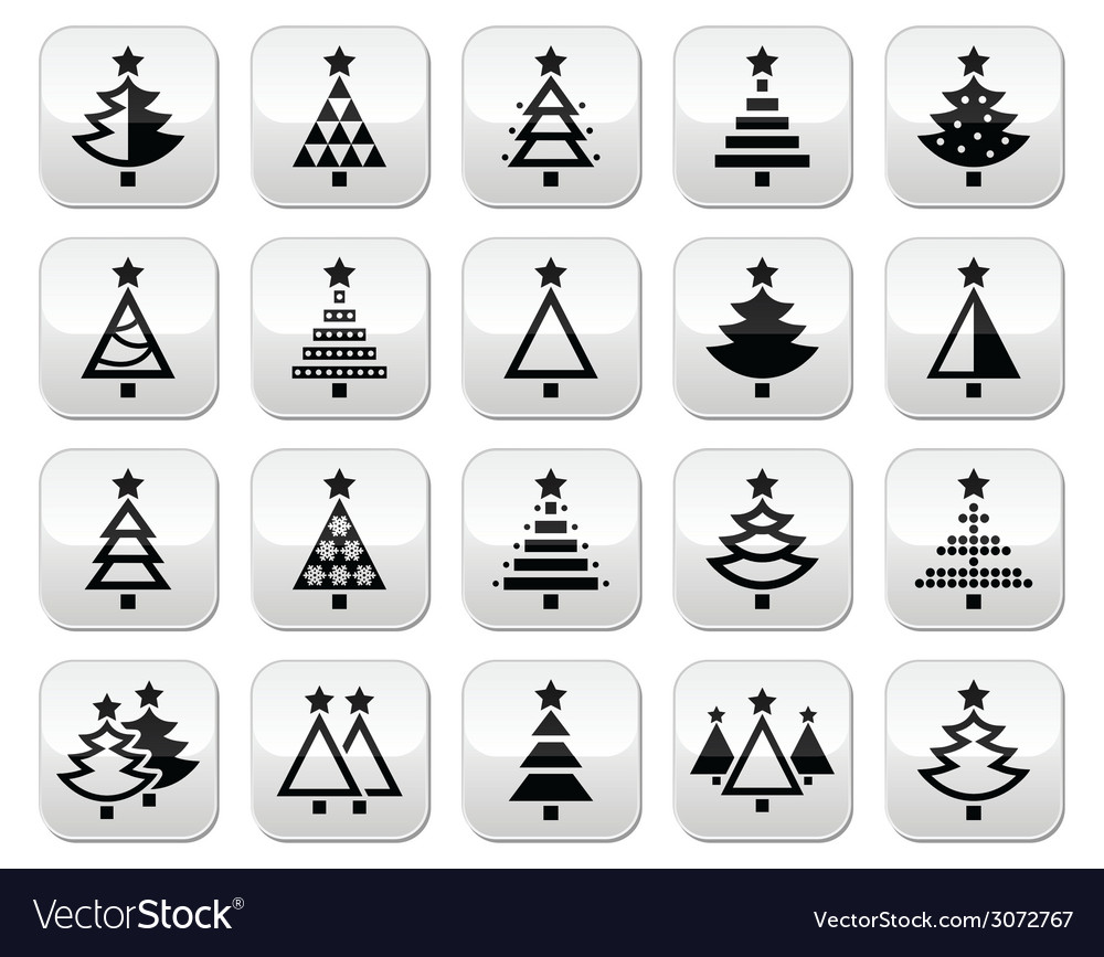 Christmas tree - various types buttons set