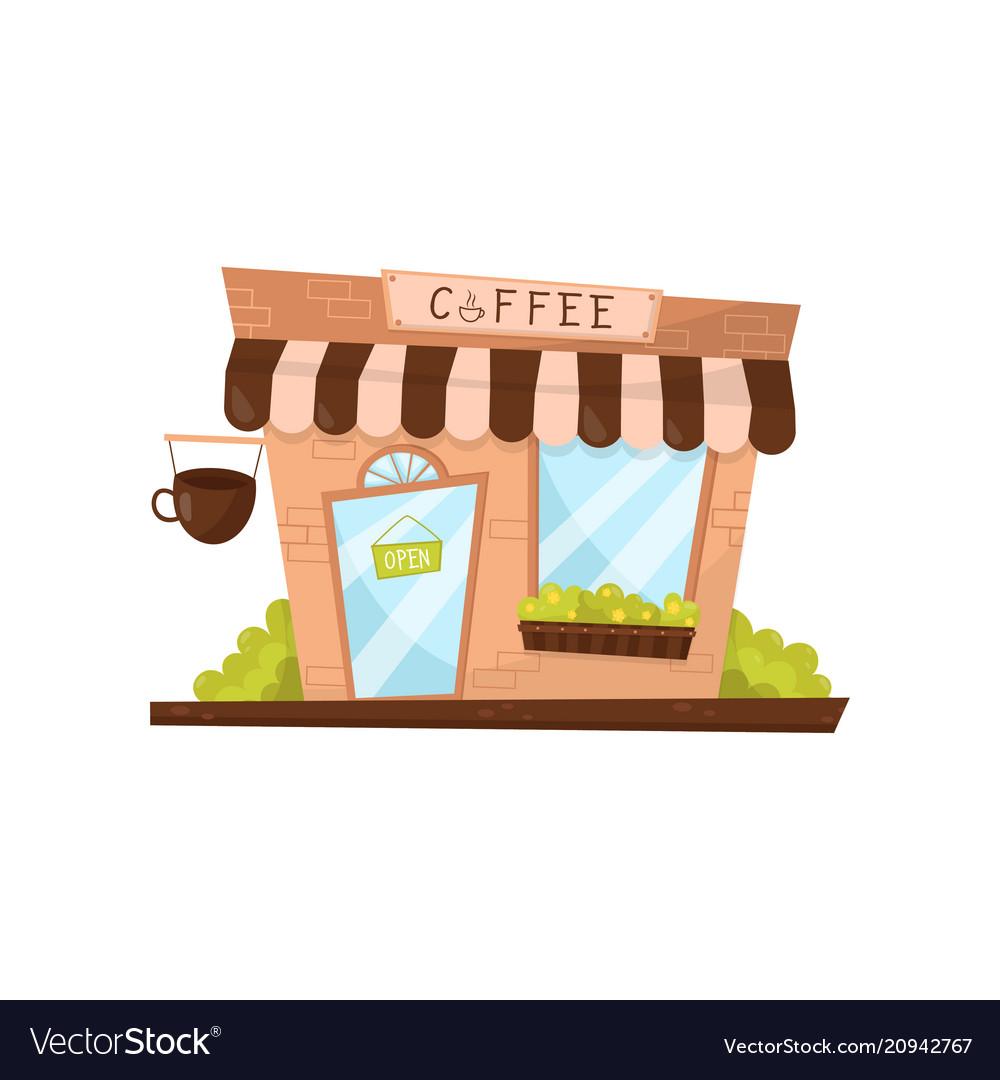 Coffee shop exterior in cartoon style facade of