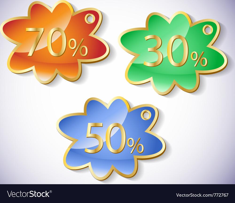 Discount labels set vector image