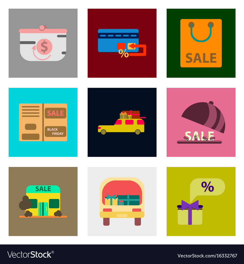 Flat assembly icons of set of gifts and discounts