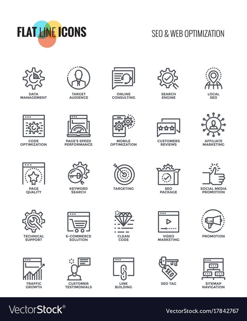 Flat line icons design-seo and web optimization