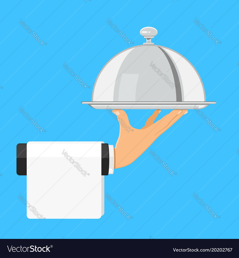 Hand with tray vector image