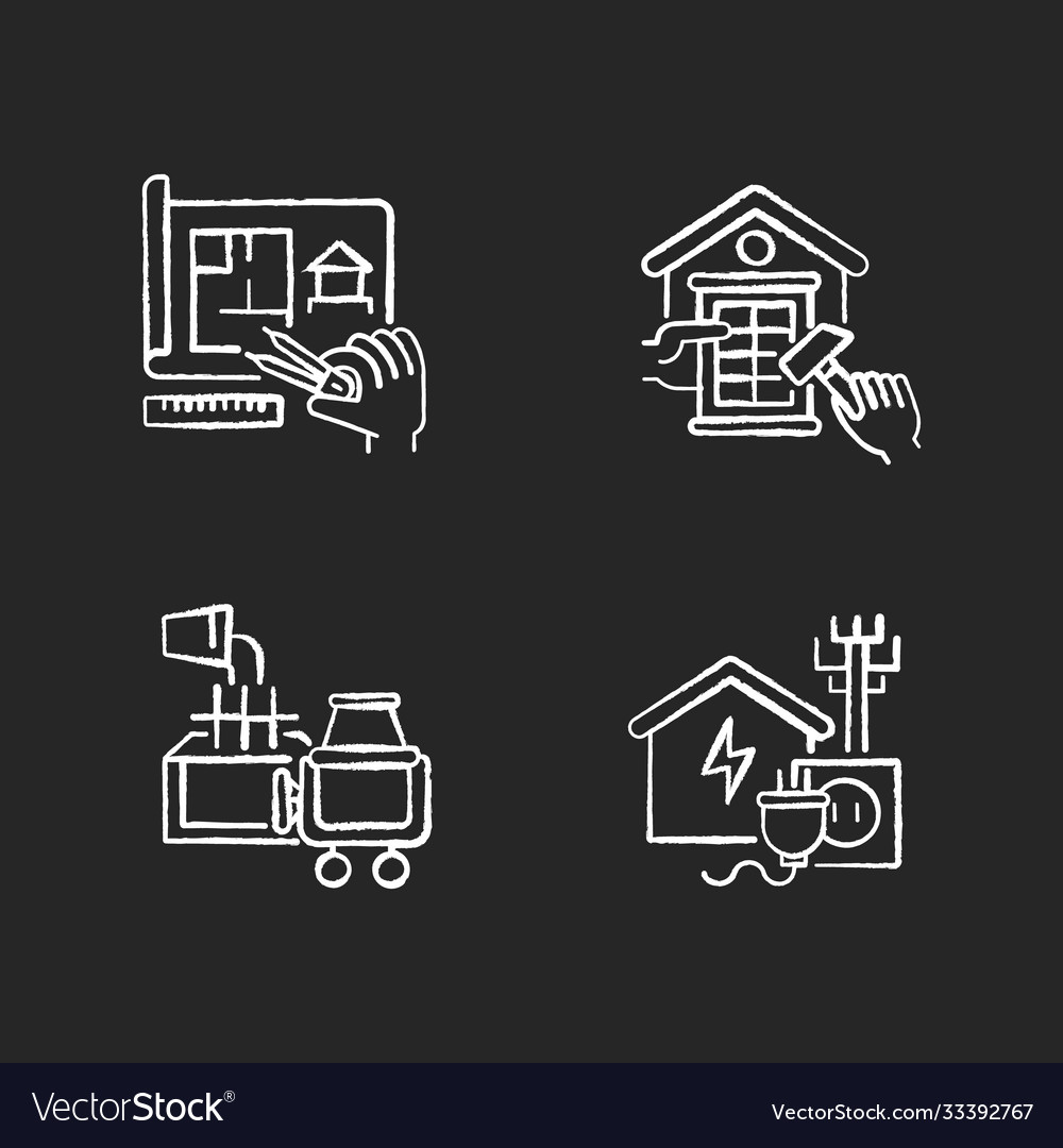 House Foundation Chalk White Icons Set On Black Vector Image