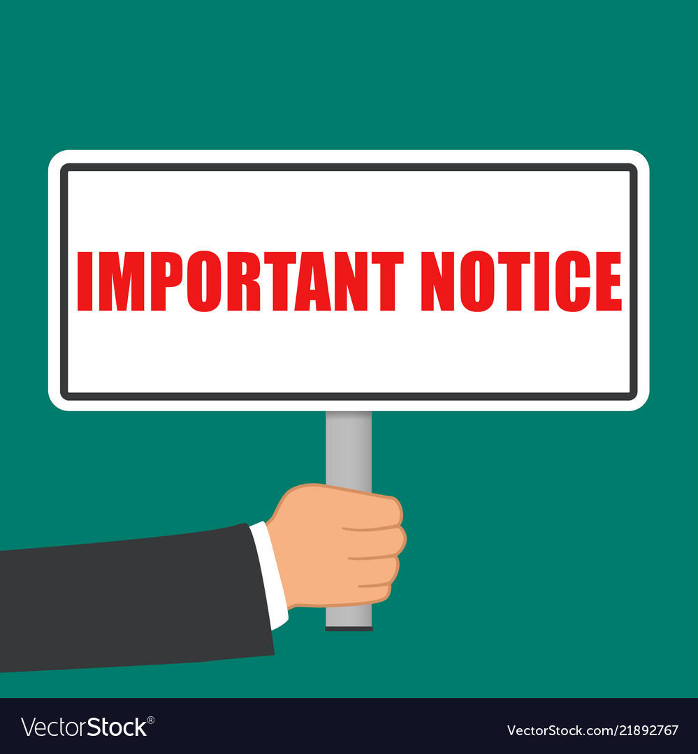 Important notice sign flat concept Royalty Free Vector Image