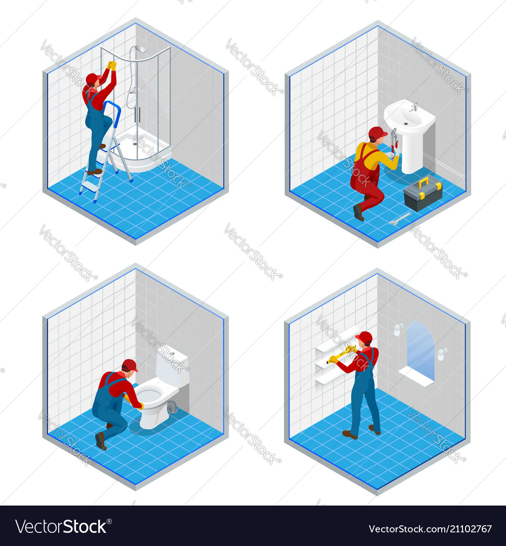Isometric plumber or worker with tool belt