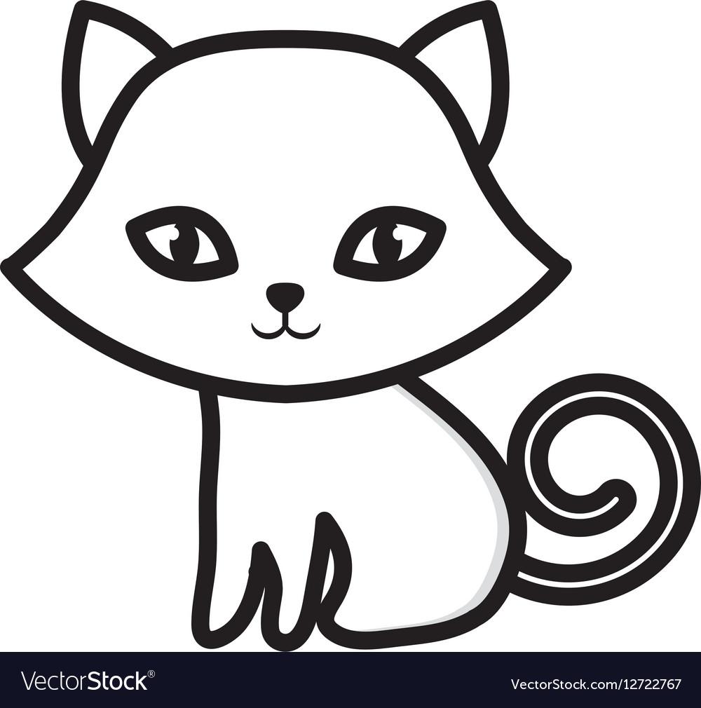 Kitten sitting adorable outline vector image