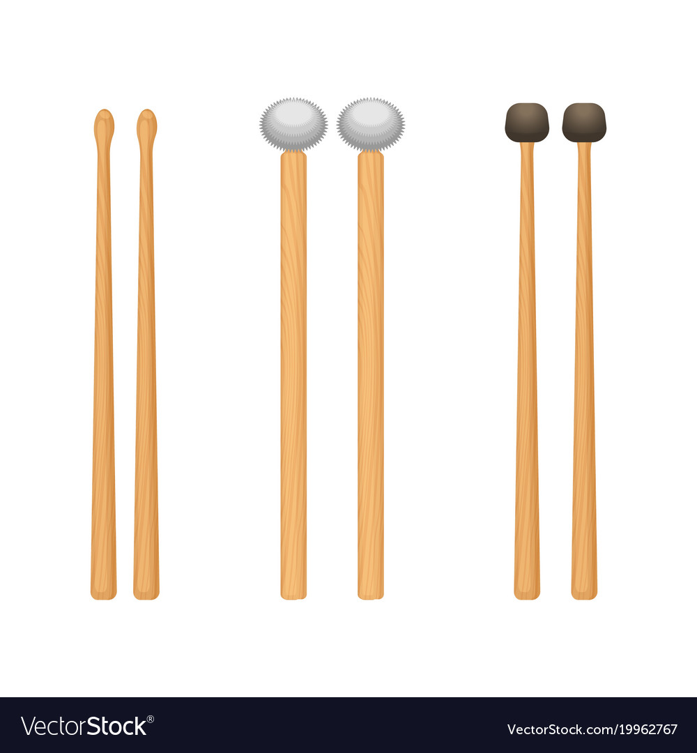 Profesional wooden drum sticks with rounded ends vector image