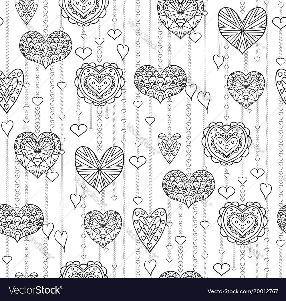 Seamless black and white texture with hanging