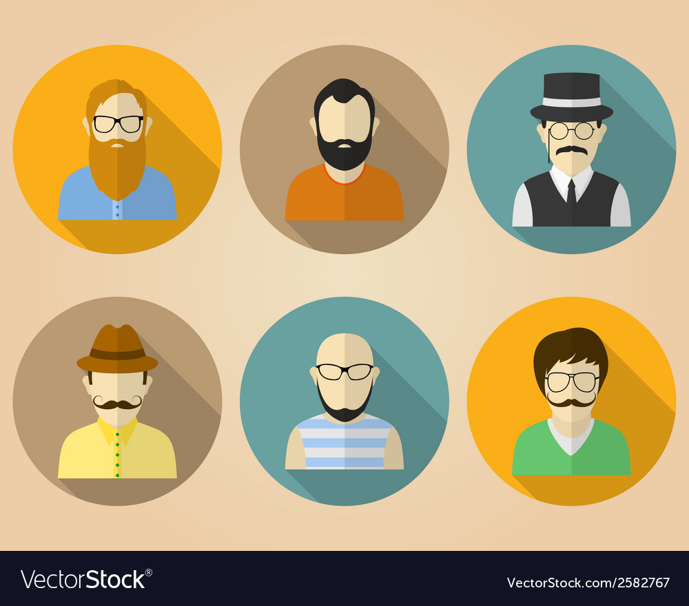 Set of male avatars or pictograms for social