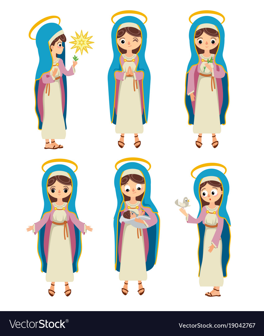 Set of virgin saint mary vector image