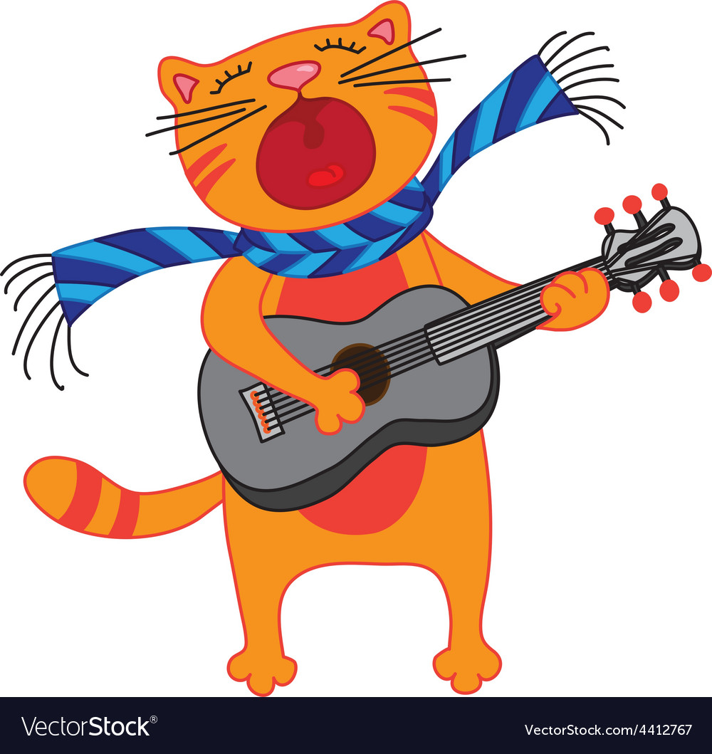 Singing cat plays guitar on white background