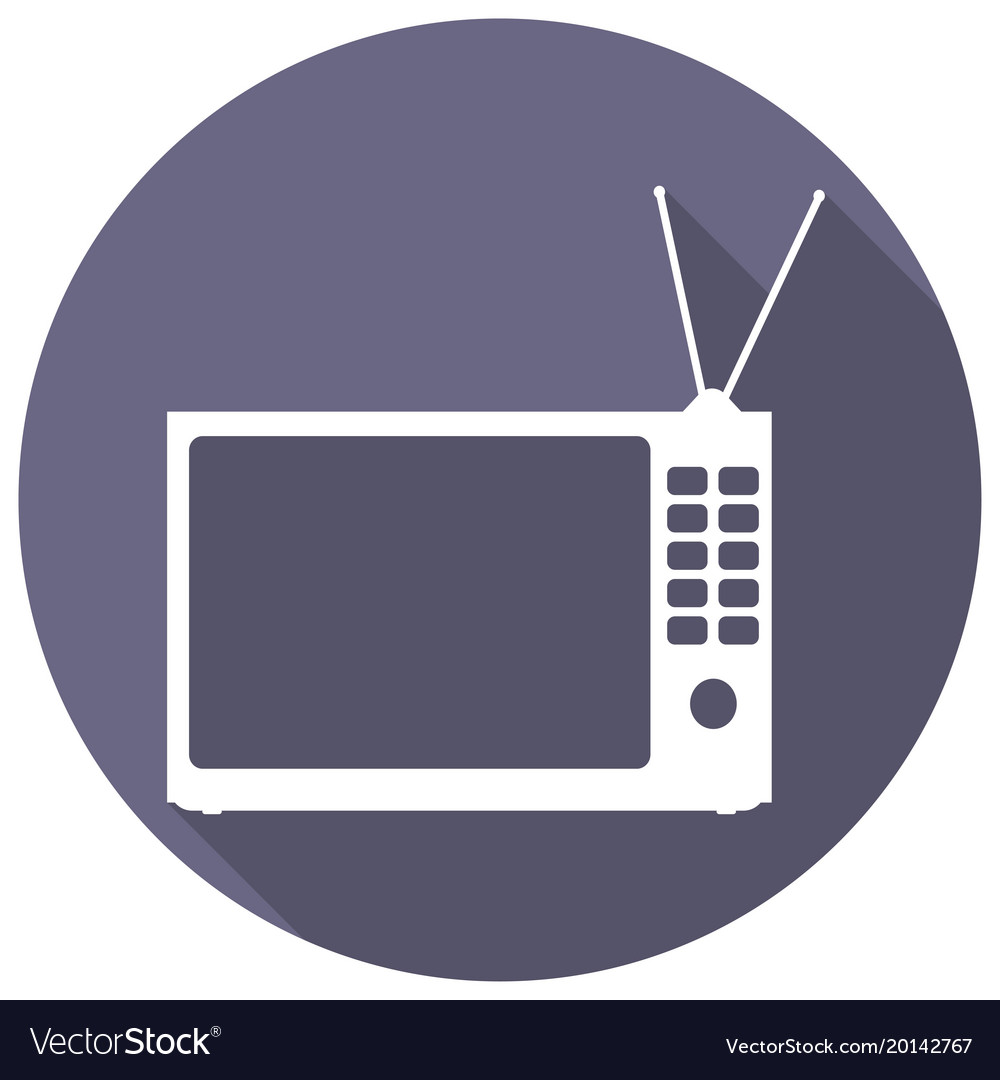 Tv icon on long shadow