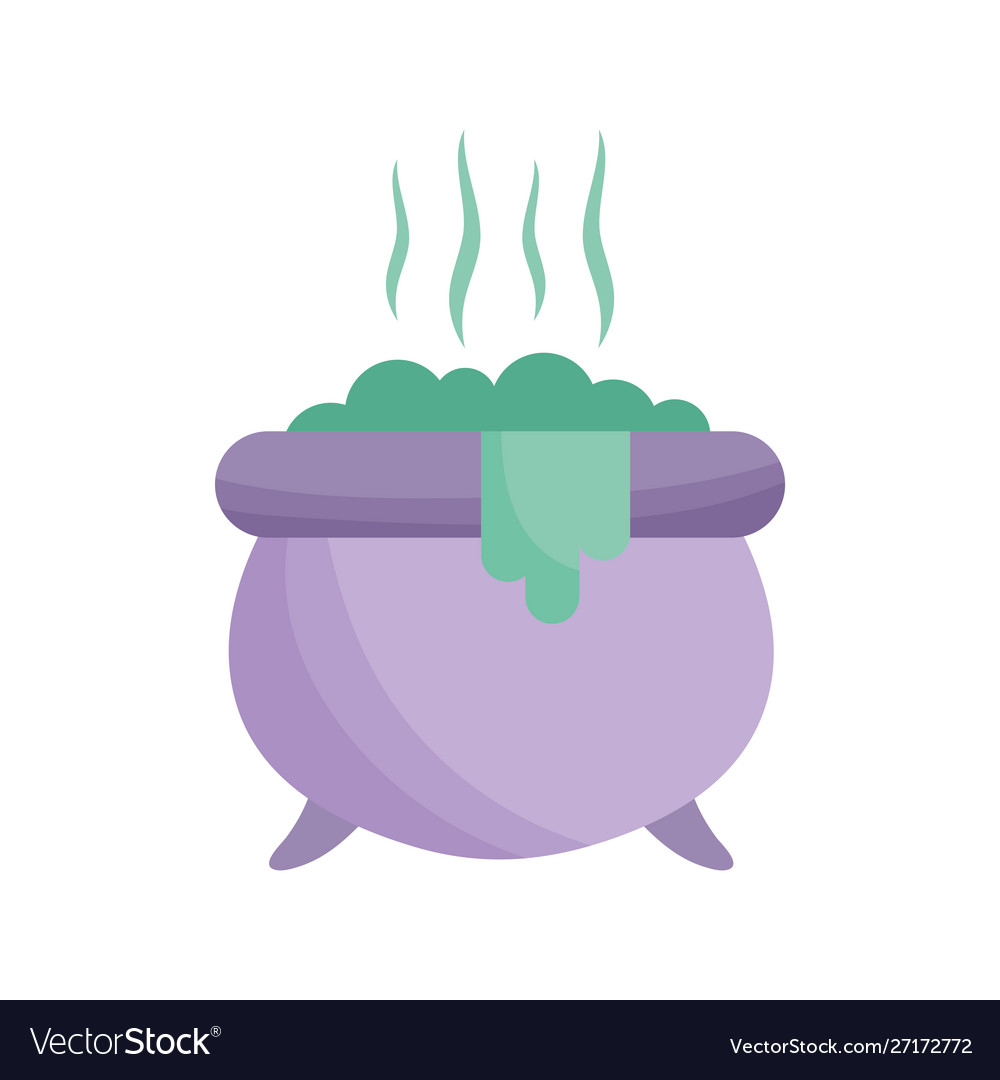 Cauldron with potion icon trick or treat happy