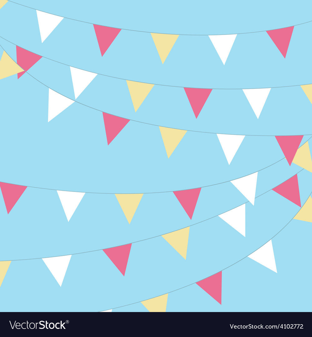 Coloured bunting on a sky background