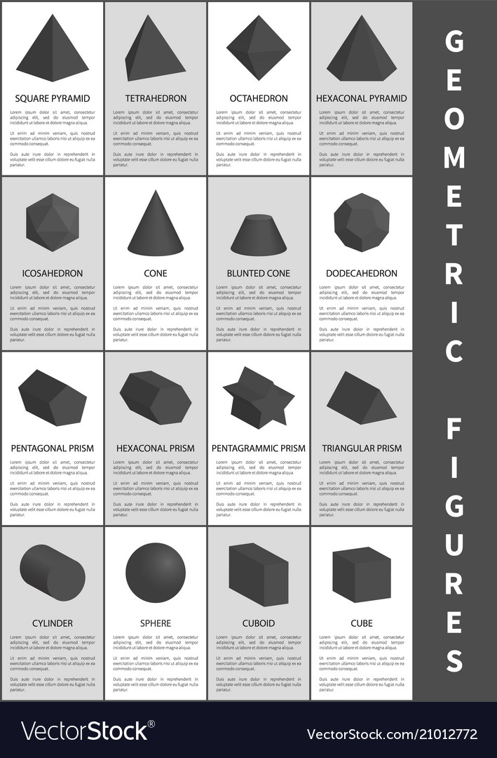 Geometric figures in black