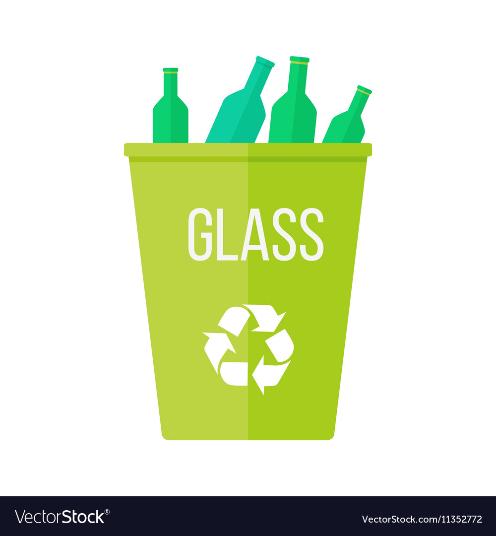 Green Recycle Garbage Bin With Glass Royalty Free Vector