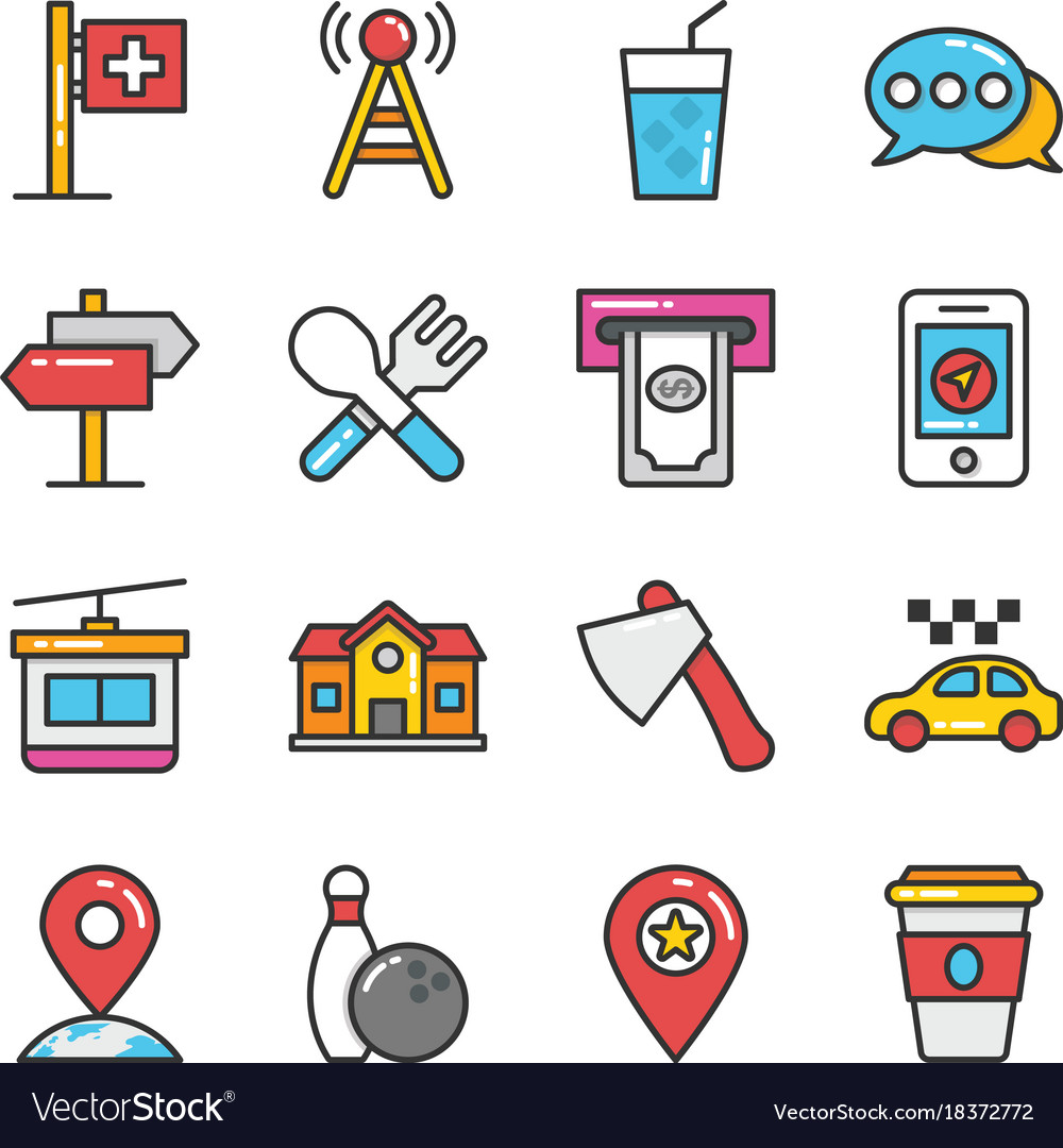 Hotel and travel colored icons set 9
