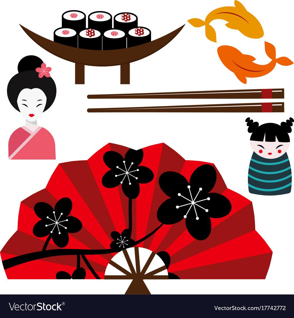 Japan landmark travel icons collection