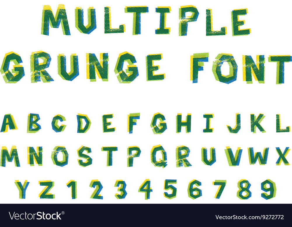 Multiple bright colors grunge font alphabet on